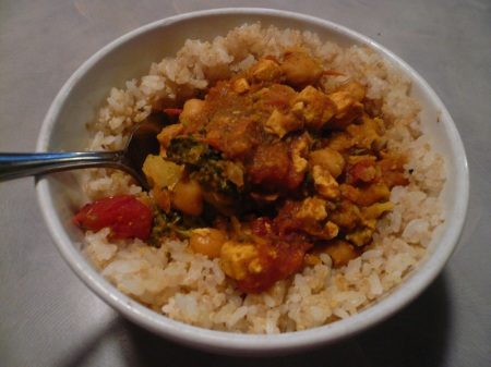 Leftover Curry over Quinoa & Rice