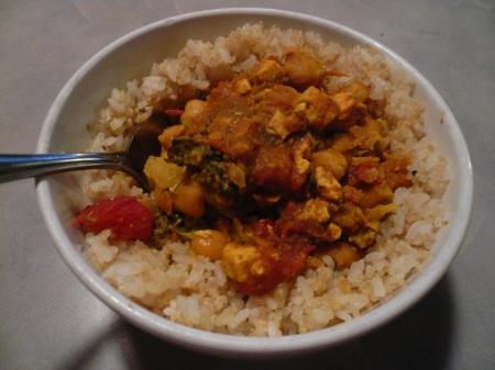 Leftover Curry over Quinoa & Rice