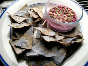 beet hummus with baked tortillas