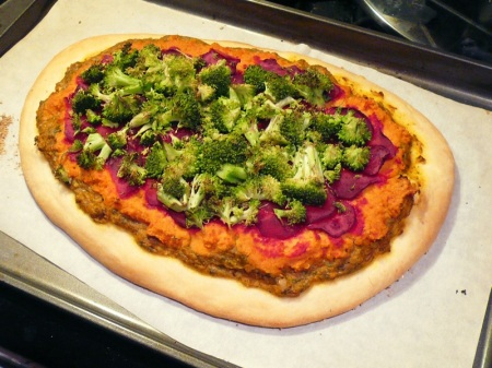Roasted Pesto & Hummus Pizza